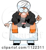 Cartoon Of A Chubby Muslim Sikh Man With An Idea Royalty Free Vector Clipart