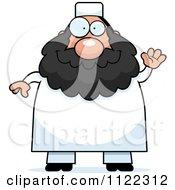 Cartoon Of A Chubby Muslim Man Waving Royalty Free Vector Clipart