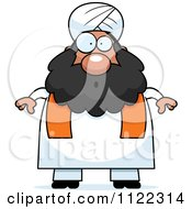 Cartoon Of A Surprised Chubby Muslim Sikh Man Royalty Free Vector Clipart