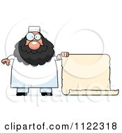 Cartoon Of A Chubby Muslim Man With A Sign Royalty Free Vector Clipart