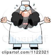 Cartoon Of A Scared Chubby Muslim Man Royalty Free Vector Clipart