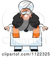 Cartoon Of A Depressed Chubby Muslim Sikh Man Royalty Free Vector Clipart