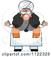 Cartoon Of A Clueless Or Careless Shrugging Chubby Muslim Sikh Man Royalty Free Vector Clipart