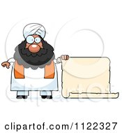 Cartoon Of A Chubby Muslim Sikh Man With A Sign Royalty Free Vector Clipart