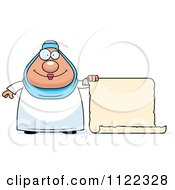 Cartoon Of A Chubby Muslim Woman With A Sign Royalty Free Vector Clipart by Cory Thoman