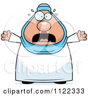 Cartoon Of A Scared Chubby Muslim Woman Royalty Free Vector Clipart