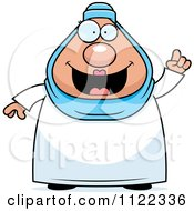 Cartoon Of A Chubby Muslim Woman With An Idea Royalty Free Vector Clipart by Cory Thoman