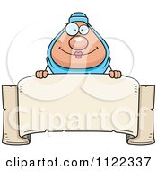 Cartoon Of A Chubby Muslim Woman Over A Banner Sign Royalty Free Vector Clipart by Cory Thoman
