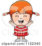 Cartoon Of A Happy Red Haired Cheerleader Girl Cheering Royalty Free Vector Clipart
