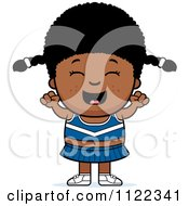 Cartoon Of A Happy Black Cheerleader Girl Cheering Royalty Free Vector Clipart