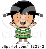 Cartoon Of A Happy Asian Cheerleader Girl Cheering Royalty Free Vector Clipart