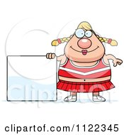 Cartoon Of A Chubby Blond Cheerleader With A Sign Royalty Free Vector Clipart