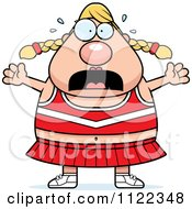 Cartoon Of A Chubby Stressed Blond Cheerleader Royalty Free Vector Clipart