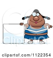 Cartoon Of A Chubby Black Cheerleader With A Sign Royalty Free Vector Clipart