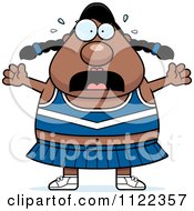 Cartoon Of A Chubby Stressed Black Cheerleader Royalty Free Vector Clipart