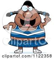 Cartoon Of A Chubby Black Cheerleader With An Idea Royalty Free Vector Clipart