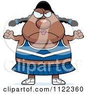Cartoon Of A Chubby Angry Black Cheerleader Royalty Free Vector Clipart