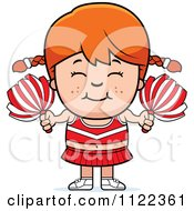 Cartoon Of A Happy Black Cheerleader Girl Royalty Free Vector Clipart