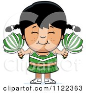 Cartoon Of A Happy Asian Cheerleader Girl Royalty Free Vector Clipart by Cory Thoman
