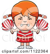 Cartoon Of An Angry Red Haired Cheerleader Girl Royalty Free Vector Clipart by Cory Thoman