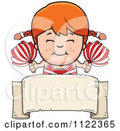 Cartoon Of A Happy Red Haired Cheerleader Girl Over A Sign Royalty Free Vector Clipart by Cory Thoman