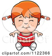 Cartoon Of A Happy Red Haired Cheerleader Girl Sitting Royalty Free Vector Clipart by Cory Thoman