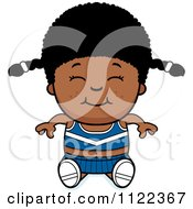 Cartoon Of A Happy Black Cheerleader Girl Sitting Royalty Free Vector Clipart by Cory Thoman