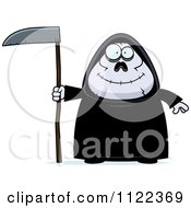 Cartoon Of A Happy Chubby Grim Reaper Royalty Free Vector Clipart by Cory Thoman