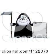 Cartoon Of A Happy Chubby Grim Reaper With A Sign 3 Royalty Free Vector Clipart by Cory Thoman
