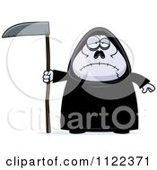 Cartoon Of A Depressed Chubby Grim Reaper Royalty Free Vector Clipart