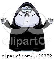 Cartoon Of A Careless Shrugging Chubby Grim Reaper Royalty Free Vector Clipart