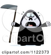 Cartoon Of A Scared Chubby Grim Reaper Royalty Free Vector Clipart