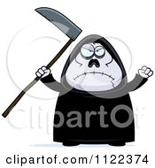 Cartoon Of An Angry Chubby Grim Reaper Royalty Free Vector Clipart