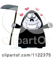 Cartoon Of A Chubby Grim Reaper With Open Arms Royalty Free Vector Clipart