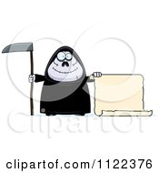 Cartoon Of A Happy Chubby Grim Reaper With A Sign 2 Royalty Free Vector Clipart by Cory Thoman