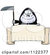 Cartoon Of A Happy Chubby Grim Reaper With A Sign 1 Royalty Free Vector Clipart by Cory Thoman