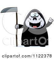 Cartoon Of A Chubby Grim Reaper With An Idea Royalty Free Vector Clipart by Cory Thoman