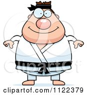Cartoon Of A Chubby Black Belt Karate Man Royalty Free Vector Clipart by Cory Thoman