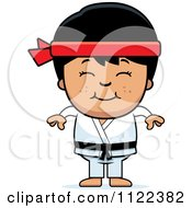 Cartoon Of A Happy Asian Martial Arts Karate Boy Royalty Free Vector Clipart