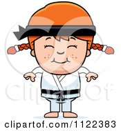 Cartoon Of A Happy Red Haired Martial Arts Karate Girl Royalty Free Vector Clipart by Cory Thoman