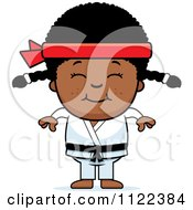 Cartoon Of A Happy Black Martial Arts Karate Girl Royalty Free Vector Clipart by Cory Thoman