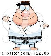 Cartoon Of A Waving Chubby Black Belt Karate Man Royalty Free Vector Clipart