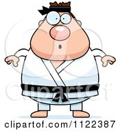 Cartoon Of A Surprised Chubby Black Belt Karate Man Royalty Free Vector Clipart