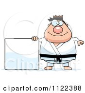 Cartoon Of A Chubby Black Belt Karate Man With A Sign Royalty Free Vector Clipart