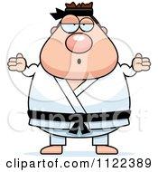 Cartoon Of A Careless Shrugging Chubby Black Belt Karate Man Royalty Free Vector Clipart