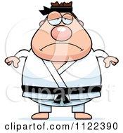 Cartoon Of A Depressed Chubby Black Belt Karate Man Royalty Free Vector Clipart