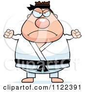 Cartoon Of A Mad Chubby Black Belt Karate Man Royalty Free Vector Clipart