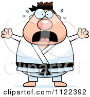 Cartoon Of A Scared Chubby Black Belt Karate Man Royalty Free Vector Clipart
