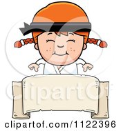 Cartoon Of A Happy Red Haired Martial Arts Karate Girl Over A Banner Sign Royalty Free Vector Clipart