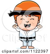 Cartoon Of A Happy Red Haired Martial Arts Karate Boy Cheering Royalty Free Vector Clipart